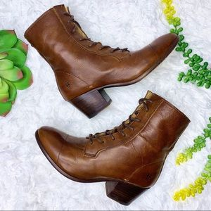 Frye Courtney Lace Up Heeled Ankle Booties Size 6